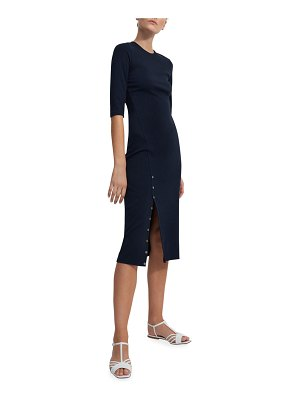 Theory Midi Bodycon Dress w/ Mother-of-Pearl Buttons