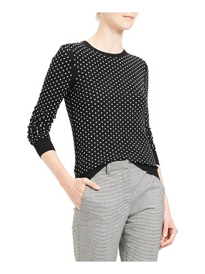 Theory Mini Polka Dot Crewneck Regal Wool Sweater