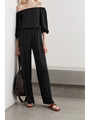 Theory off-the-shoulder silk-crepe jumpsuit