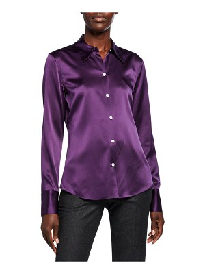Theory Perfect Fitted Stretch Silk Satin Button-Down Shirt