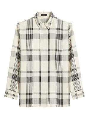 Theory plaid collared shirt