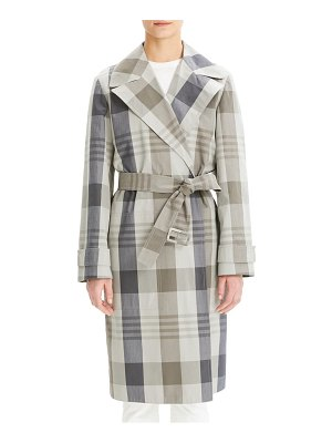 Theory plaid cotton & silk trench coat