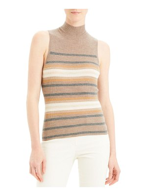 Theory Regal Cashmere Striped Turtleneck Shell Top