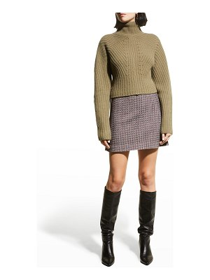 Theory Sculpted Wool-Cashmere Turtleneck Top