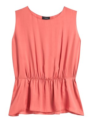Theory shirred silk sleeveless top