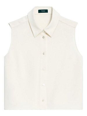Theory shrunken cropped blouse