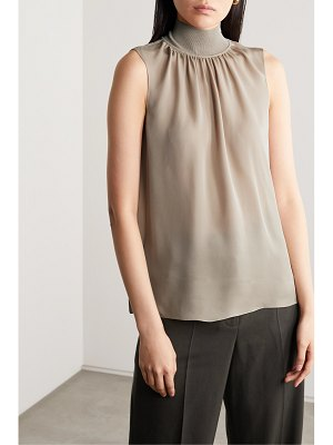 Theory silk-crepe and ribbed-knit turtleneck blouse