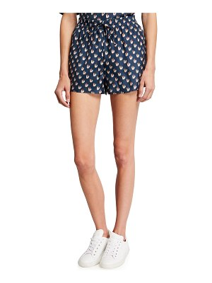 Theory Simple Printed Silk Drawstring Shorts