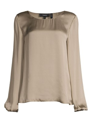 Theory solid silk blouson top