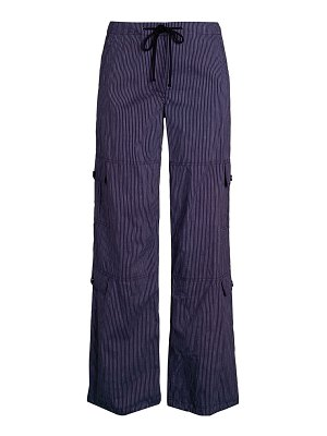 Theory Striped Cotton & Linen Wide-Leg Utility Pants