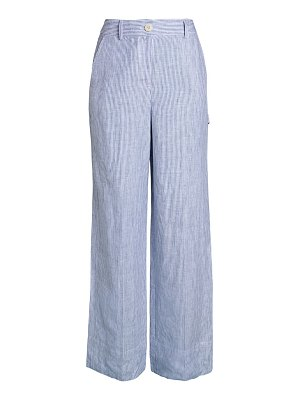 Theory Striped Linen Wide-Leg Carpenter Pants