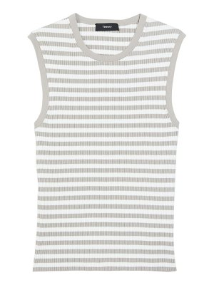 Theory striped ribbed shell top
