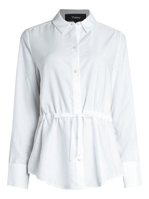 Theory tie-waist button-down blouse
