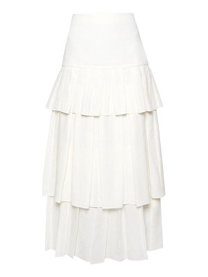 Theory tiered ruffle linen midi skirt