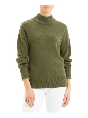 Theory whipstitch mock neck cashmere sweater