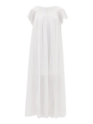 THIERRY COLSON tabitha floral-embroidered cotton-voile maxi dress