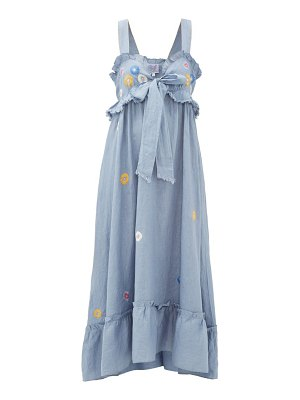 THIERRY COLSON valentina floral-embroidered cotton maxi dress
