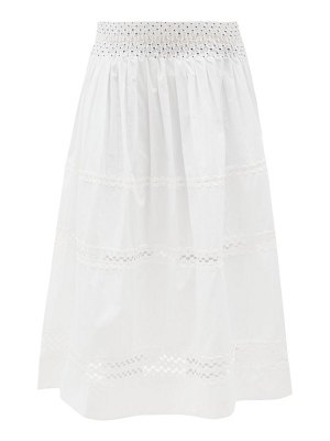 THIERRY COLSON verde smocked cotton-voile midi skirt