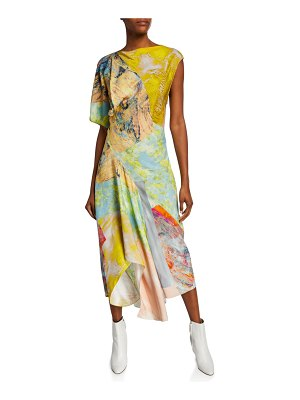 Thierry Mugler Asymmetric Painted Patchwork Dress