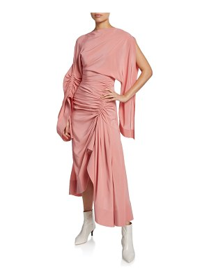 Thierry Mugler Crepe de Chine Cocktail Dress w/ Asymmetric Drape