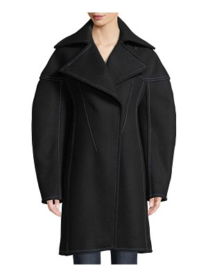 Thierry Mugler Full-Sleeve Structured Wool Coat w/ Seaming Details