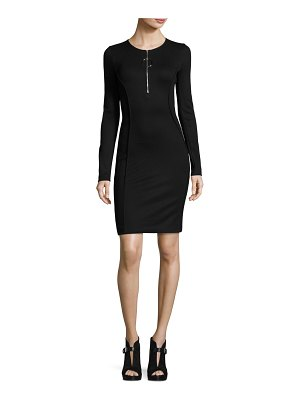Thierry Mugler Long-Sleeve Half-Zip Mini Dress