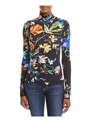 Thierry Mugler Turtleneck Long-Sleeve 3-D Collage Floral-Print Jersey Top