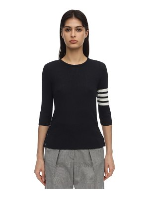 Thom Browne 3/4 sleeves silk & cotton knit sweater