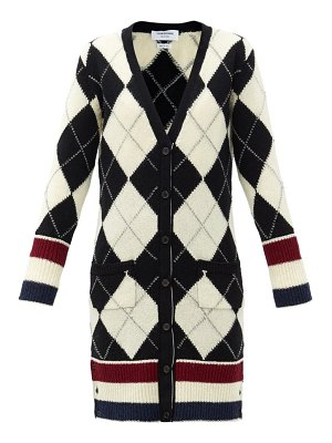 Thom Browne argyle-intarsia v-neck wool cardigan