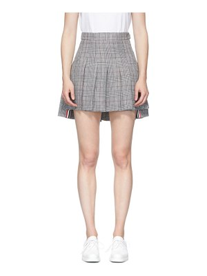 Thom Browne black and white check dropped back pleated miniskirt