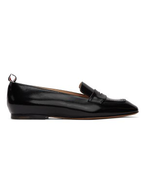 Thom Browne black nipped toe penny loafers