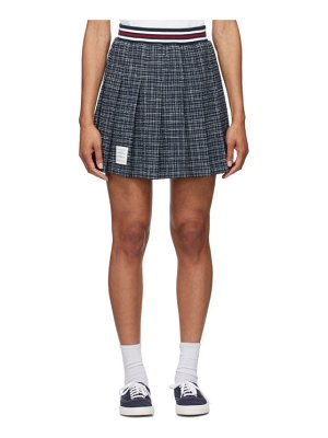 Thom Browne blue tweed small hairline check miniskirt