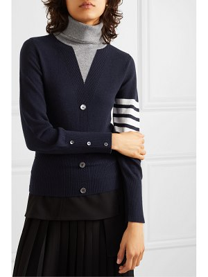 Thom Browne button-detailed striped intarsia cashmere turtleneck sweater