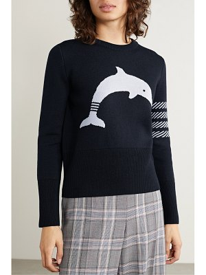 Thom Browne button detailed striped intarsia wool-blend sweater