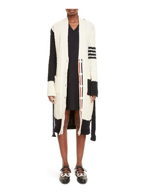 Thom Browne colorblock belted wool & mohair longline cardigan