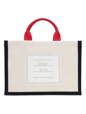 Thom Browne Cotton canvas tote bag w/ patch