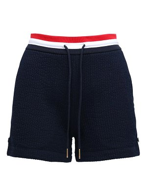 Thom Browne Cotton sweat shorts w/ stripes