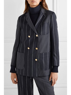 Thom Browne double-breasted paneled pinstriped wool-felt and twill blazer