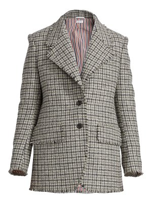 Thom Browne frayed cashmere checked jacket