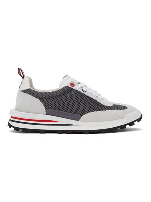Thom Browne grey and white tech runner sneakers