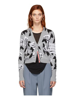 Thom Browne grey boucle rose jacquard cardigan
