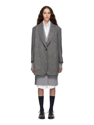 Thom Browne grey supersized sack coat