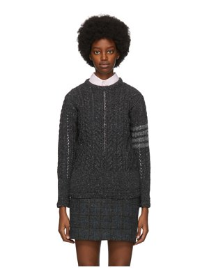 Thom Browne grey wool aran cable 4-bar sweater