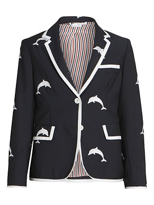 Thom Browne narrow shoulder classic dolphin embroidered blazer
