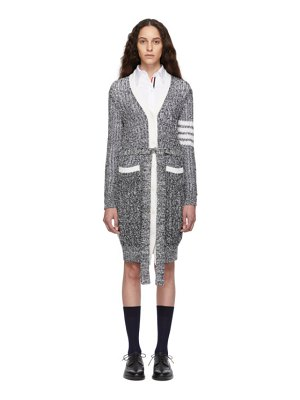 Thom Browne navy and white open stitch long cardigan