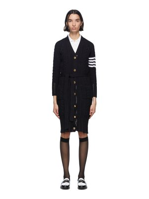 Thom Browne navy aran cable 4-bar long cardigan