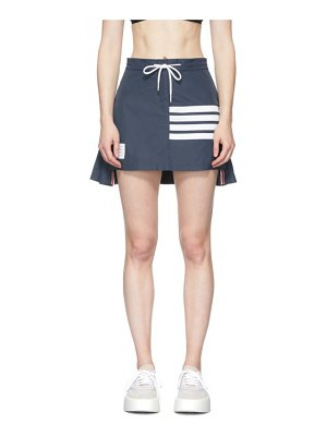 Thom Browne navy flyweight pleated back 4-bar miniskirt