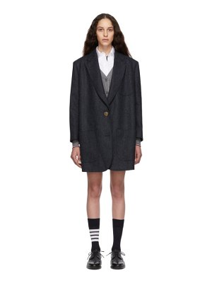 Thom Browne navy supersized sack coat