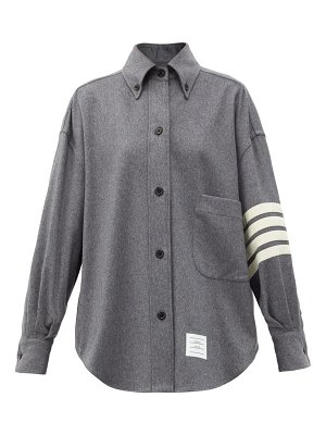 Thom Browne oversized four-bar stripe cashmere-flannel shirt