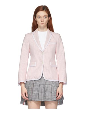 Thom Browne pink seersucker narrow shoulder blazer